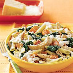 Penne with Squash and Chicken is simple and healthy recipe you'll want to try this week! Give the pasta a twist by using corkscrews, elbows or bowties. Leftover Chicken Recipes, Leftovers Recipes, Turkey Recipes, Pasta Recipes, Cooking Recipes, Healthy Recipes, Cooking Stuff, What's Cooking, Delicious Recipes
