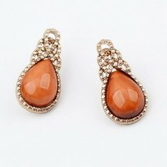 Retro Orange Drop Temperament Hoop Earrings for Women