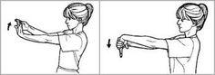 Manteniendo el brazo totalmente estirado y a 90º con respecto al pecho hacemos movimientos de muñeca hacia arriba y abajo, mantenemos unos 10 segundos. Para fortalecer más en este ejercicio podemos añadir una pesa de entre 0,5kg - 1,5kg y hacemos los mismos movimientos.