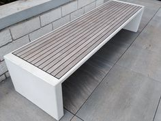 Modern outdoor bench - wood and concrete. Outdoor Furniture, Outdoor Decor, Dining Bench, Concrete, House Ideas, Landscape, Wood, Modern, Projects