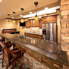love faux stone on a basement bar classy elegant and easy DIY