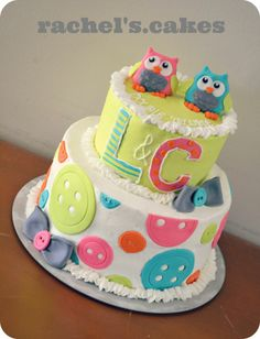 owl theme baby shower cakes   Owl theme baby shower cake for twins! ...   sugartree cakes