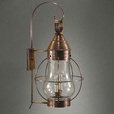 Northeast Lantern Onion 1 Light Outdoor Wall Lantern Finish: Raw Brass, Shade Type: Optic