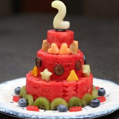 Watermelon Cake with Fresh Fruits: A perfect and refreshing dessert for a birthday party or any other hot summer day.