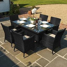 Maze Rattan Outdoor Garden Furniture Baby LA 6 Seat 1.5m x 1m Rectangular Table Rattan Dining Set