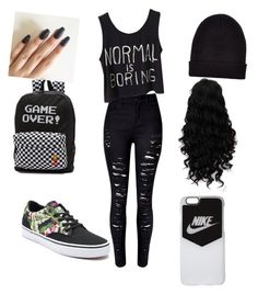 """""""Midnight pursuit"""" by chassymartin on Polyvore featuring WithChic, Vans, NIKE and New Look"""