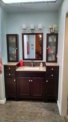 Glacier Bay Modular in. W Bath Vanity in Java with Solid Surface Vanity Top in Cappuccino with White Sink - Modern Remodeling Mobile Homes, Home Remodeling, Kitchen Remodeling, Primitive Bathrooms, Mobile Home Decorating, Narrow Bathroom, White Sink, Vanity Cabinet, Modular Homes