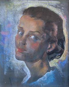 Friedrich Ludwig: Frau im blauen Kleid Museum, Friedrich, Ludwig, Mona Lisa, Artwork, Painting, Black Forest, Pastel, Culture