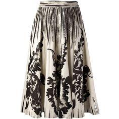 Rewind Vintage Affairs 1950s Cartwheel Skirt ($791) ❤ liked on Polyvore featuring skirts, brown skirt, vintage pleated skirt, knee length pleated skirt, cotton skirt and pleated skirt