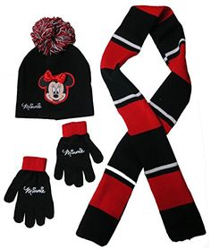 Disney Minnie Mouse Rocks The Dots Beanie Hat Scarf and Glove Set  Size 414 4013 *** More info could be found at the image url.