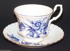 Royal Albert Tea Cup Saucer Set Blue Flowers Gold Trim England Bone China Floral #RoyalAlbert