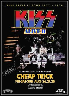 This would have been a great, double bill, KISS with Cheap Trick! Seen both bands, but not together. Kiss Concert, Concert Flyer, Rock Concert, Tour Posters, Band Posters, Music Posters, Event Posters, Bruce Dickinson, Power Metal