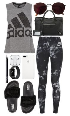 """""""inspired post workout outfit"""" by cristinahope ❤ liked on Polyvore featuring Balenciaga, Puma, adidas, NIKE, Ray-Ban and NARS Cosmetics"""