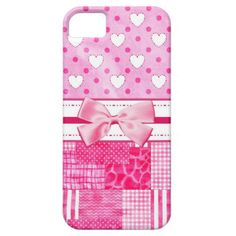 A girly pink pattern iPhone 5 Barely There Case with cute hearts and polka dots on the top and a trendy patchwork quilt on the bottom and embellished with a pretty in pink ribbon. Perfect for the teen girly girl into fashion! Flat printed image, not actual bow. Original Art copyright of ©Tracie Kaska