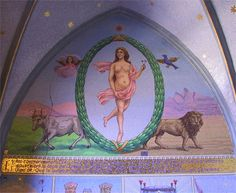 """Tarot ,chapelle du château des Avenières.CH. La XXIe lame de tarot se nomme """"le Monde""""."""