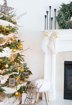 Cream and gold Christmas decor with touches of wood and fur textures