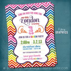 Rainbow Chevron Birthday Party Invitation. Super Fun & by MTipsy, $16.00