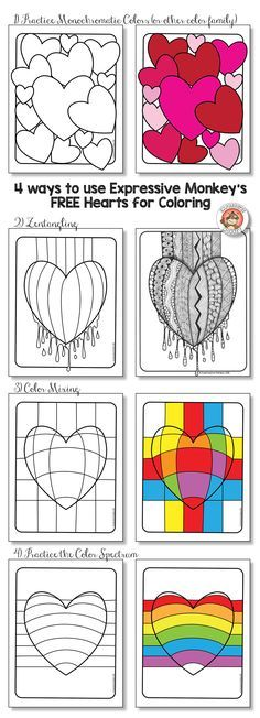 4 FREE Hearts for Coloring by Expressive Monkey. Use the hearts as a way to practice color families, color mixing, or Zentangling just to name a few...Or just have fun making a colorful heart for Valentine's Day.