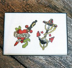 Heart and Anchor Tattoo Cross Stitch Pattern Instant Download