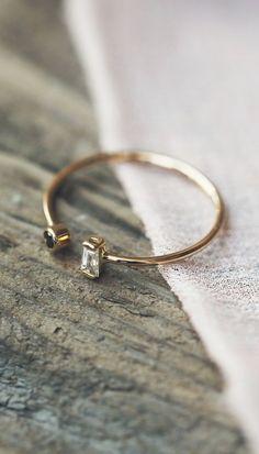 Zoe Chicco Baguette Diamond Open Ring
