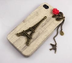 iPhone 4 Case, iPhone 4 cover, ,Iphone Case with Eiffel Tower, bird and flower, New Hard Fitted Case For iphone 4 & iphone 4S. $8.99, via Etsy.