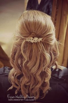 Bridesmaid wedding hair bride half up half down