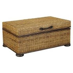 Lift-top wood trunk coffee table with woven detail and a hand-rubbed finish. Product: Trunk Construction Material: Wood, leather and rattan Color: Aged patina Features: Hand-rubbed finish Lift-top Dimensions: H x W x D Decorative Trunks, Decorative Boxes, Decorative Paper, British Colonial Decor, Wood Trunk, Trunk Table, Lift Top Coffee Table, Coffee Tables, Living Room Update