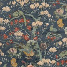 GP & J Baker Rockbird Velvet Teal Fabric - - Signature Velvets Collection Gp&j Baker, William Turner, Surface Pattern, Velvet, Prints, Fabrics, Teal Fabric, Painting, Free Samples
