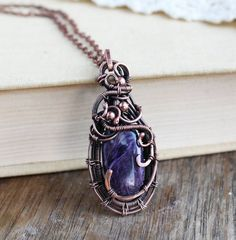 Purple stone necklace Charoite Pendant Rare Stone Jewelry