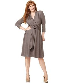 London Times Plus Size Dress, Three Quarter Sleeve V-Neck Belted Jersey - Plus Size Dresses - Plus Sizes - Macy's...$69.99-neutral with a nice skirt to hide the tummy!