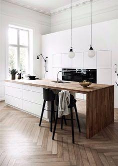 17 ideas wood kitchen design home decor for 2019 Kitchen Tiles, Kitchen Colors, Kitchen Flooring, Kitchen Countertops, Kitchen Furniture, Kitchen Interior, New Kitchen, Kitchen White, Kitchen Wood
