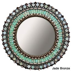 Jade Bronze Mirror now featured on Fab. Make with sea glass! Mirror Mosaic, Mosaic Art, Mosaic Glass, Mosaic Tiles, Glass Art, Mirror Bathroom, Mirror Mirror, Small Bathroom, Stained Glass