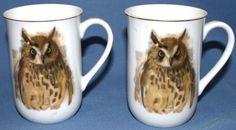 Woodland Haven Owl Coffee Cups 2 1976 Enesco Hans Paul Luetcke Painting Mug