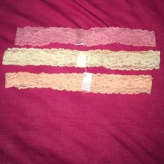 Lace Headbands Never Worn LISTING INCLUDES ALL 3 Stretchy fit, full lace in Pink, Peach and Cream Accessories Hair Accessories