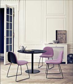 white beading + herringbone pattern wood flooring + contemporary furniture