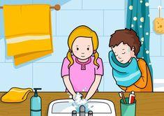 En la escena se ve a una niña lavándose las manos con agua y jabón. También hay un niño a su lado secándose la cara con una toalla. Oral Motor Activities, Sequencing Pictures, Alphabet Pictures, Picture Composition, Picture Story, Spanish Lessons, Cartoon Images, Speech Therapy, Poster