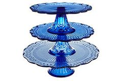 One Kings Lane - July 4th Blowout Sale - 3-Pc Blue Footed Cake Plate