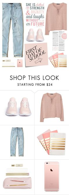 """""""First Day of School 3"""" by carolinafrancesca ❤ liked on Polyvore featuring Athletic Propulsion Labs, MANGO, Post-It, Hollister Co., StudioSarah, Kate Spade and firstdayofschool"""
