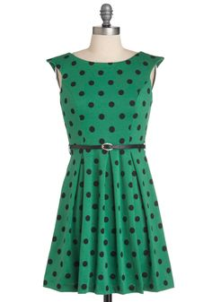 A Grand Weekday Out Dress in Dots - Green, Black, Polka Dots, Pleats, A-line, Sleeveless, Short, Belted, Vintage Inspired, Boat, Fit & Flare