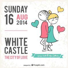 Cartão de casamento estilo cartoon Vetor grátis