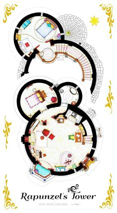 "inakialistelizarralde: "" · Floorplans from Rapunzel's Tower based on the fim TANGLED. The creators of the film have used a usual trick: The tower is bigger inside than outside. Sims House Plans, House Floor Plans, Tangled Tower, Bubble Diagram, Glamorous Bathroom, House Layouts, Tour, Planer, How To Draw Hands"