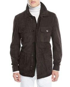 Ermenegildo Zegna Men's Suede Zip-Front Field Jacket