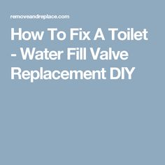 How To Fix A Toilet - Water Fill Valve Replacement DIY