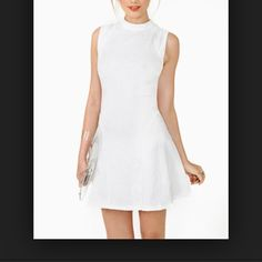 Nasty Gal Dream Flower Dress - Never Worn White a line pleat dress. With indented flower detailing. Nasty Gal Dresses