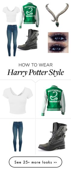 """Harry Potter 1"" by desirae-lepore on Polyvore featuring J Brand, harrypotter and slytherin"