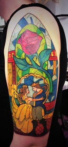 nice Disney Tattoos - Beauty and the Beast Disney tattoo photo - Pretty Tattoos, Love Tattoos, Beautiful Tattoos, Awesome Tattoos, Maleficent, Disney Tattoo Design, Photomontage, Disney Tattoos Beauty And The Beast, Fairy Tale Tattoo