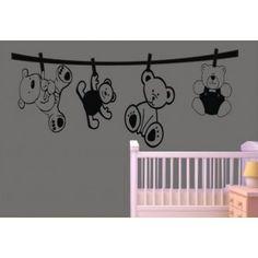 Vinilos Decorativos Infantiles Adhesivos de Pared de Ositos para Bebes AQM1515