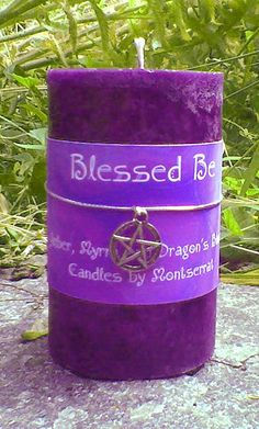 This deep purple, Natural Aromatherapy, Blessed Be candle comes with a little pentagram pendant tied with silver cord! Made with Pure Myrrh Essential Oil and Amber and Dragon's Blood Oils Myrrh Essential Oil, Essential Oil Candles, Natural Essential Oils, Deep Purple, Wiccan, Magick, Witchcraft, Pagan, Purple Candles