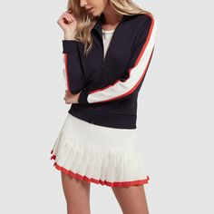 Beyond the swipe of cherry-red trimming the hemline, what we love most about this pretty pleated tennis skirt is that it's so functional. The flex-fit fabric. Tennis Outfits, Tennis Clothes, Sporty Outfits, Golf Outfit, Nike Clothes, Fitness Outfits, Pleated Tennis Skirt, Tennis Skirts, Sports Skirts