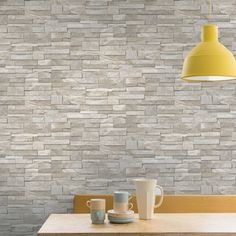 Grandeco Stone Brick Effect Wallpaper in Sand Stone - http://godecorating.co.uk/grandeco-stone-brick-effect-wallpaper-sand-stone/